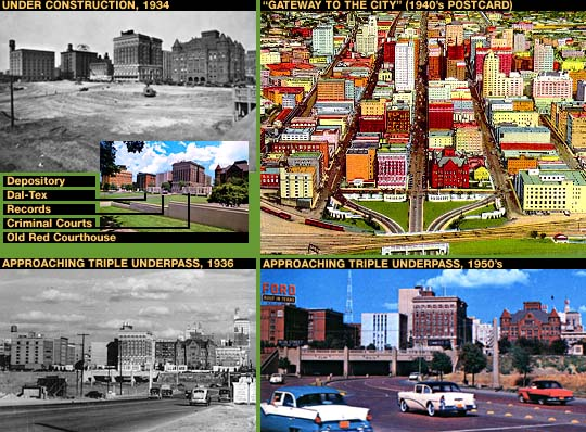 Historical montage, the area of Dealey Plaza