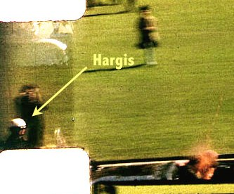 Bobby Hargis was behind JFK, and to his left when the President was hit in the head